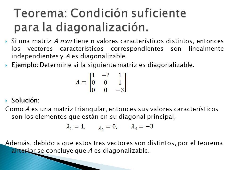 Teorema: Condición suficiente para la diagonalización.
