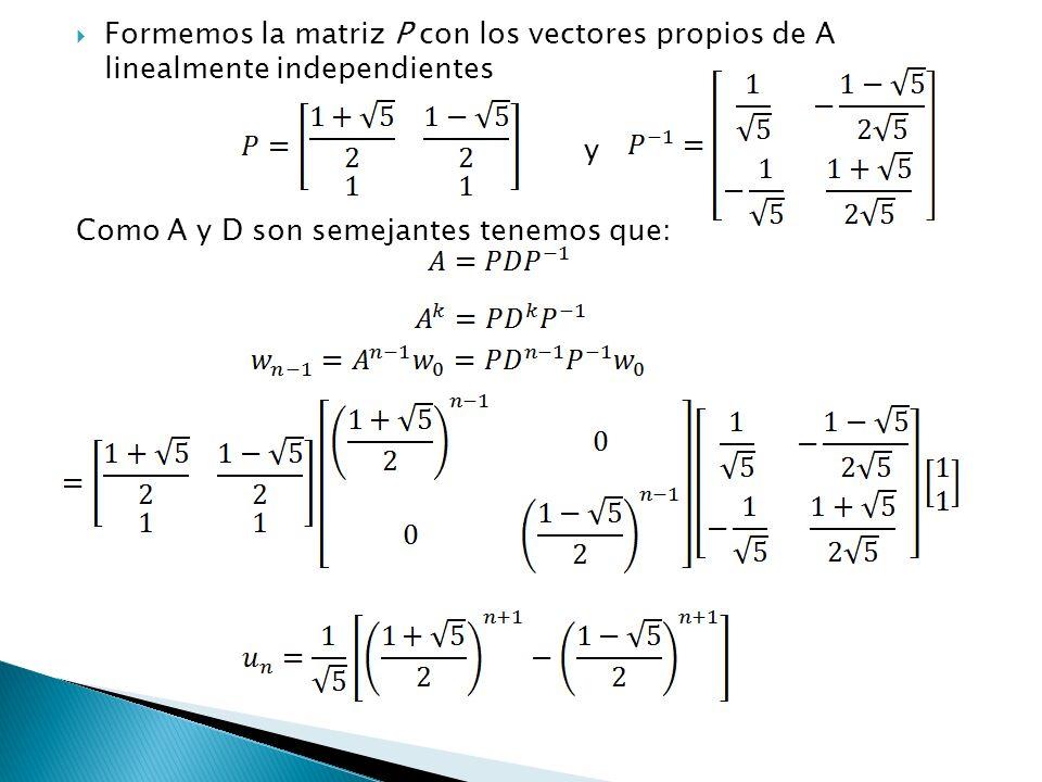 Formemos la matriz P con los vectores propios de A linealmente independientes