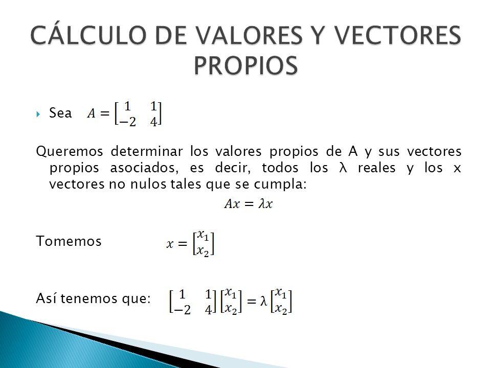 CÁLCULO DE VALORES Y VECTORES PROPIOS
