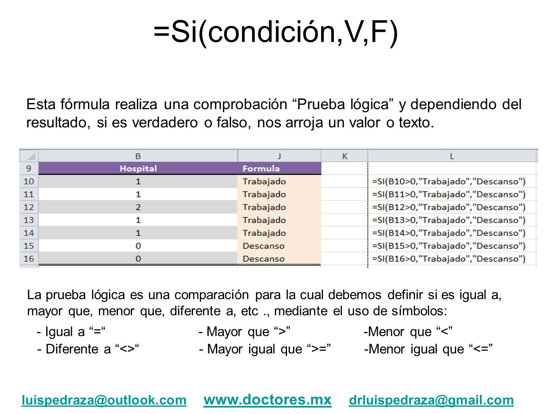 =Si(condición,V,F)