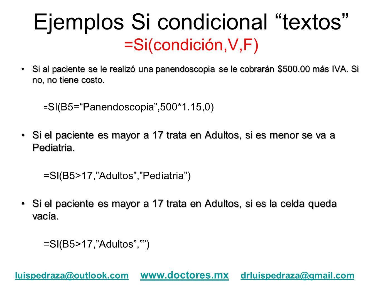 Ejemplos Si condicional textos =Si(condición,V,F)
