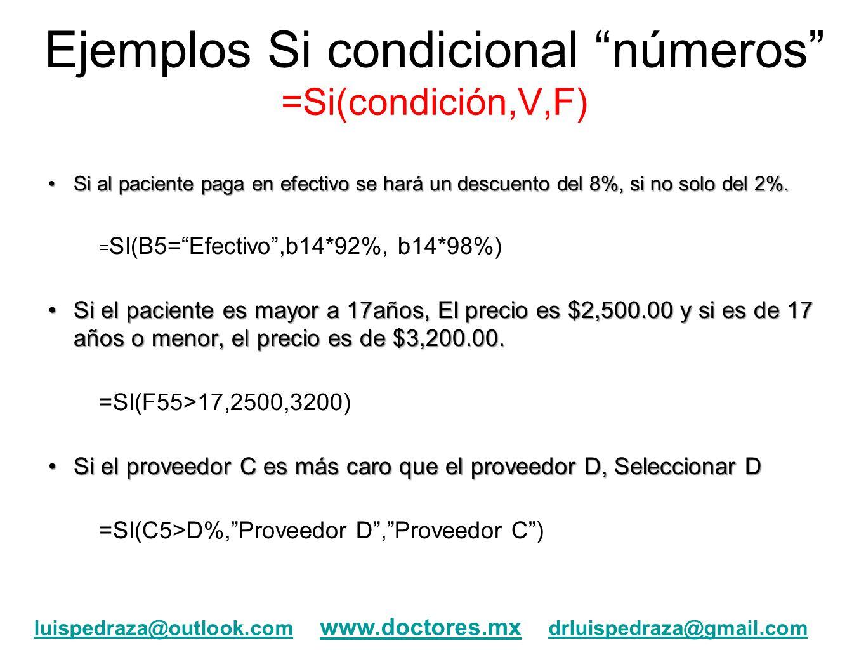 Ejemplos Si condicional números =Si(condición,V,F)