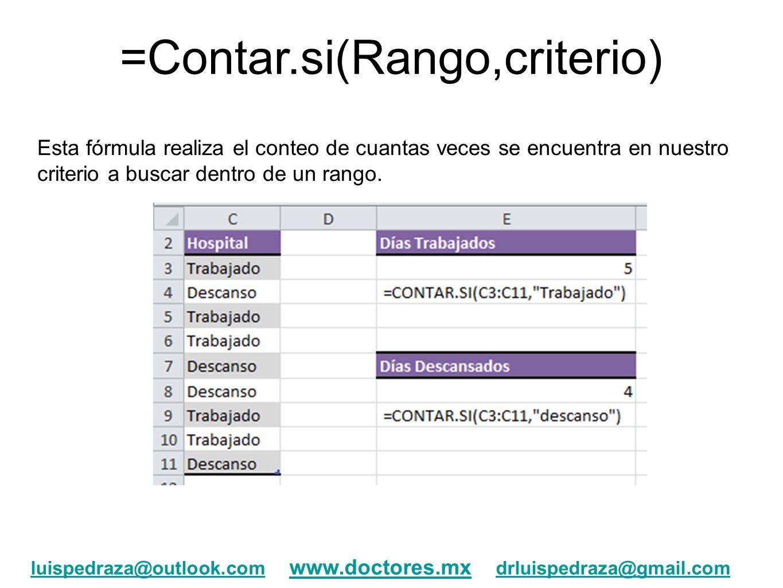 =Contar.si(Rango,criterio)