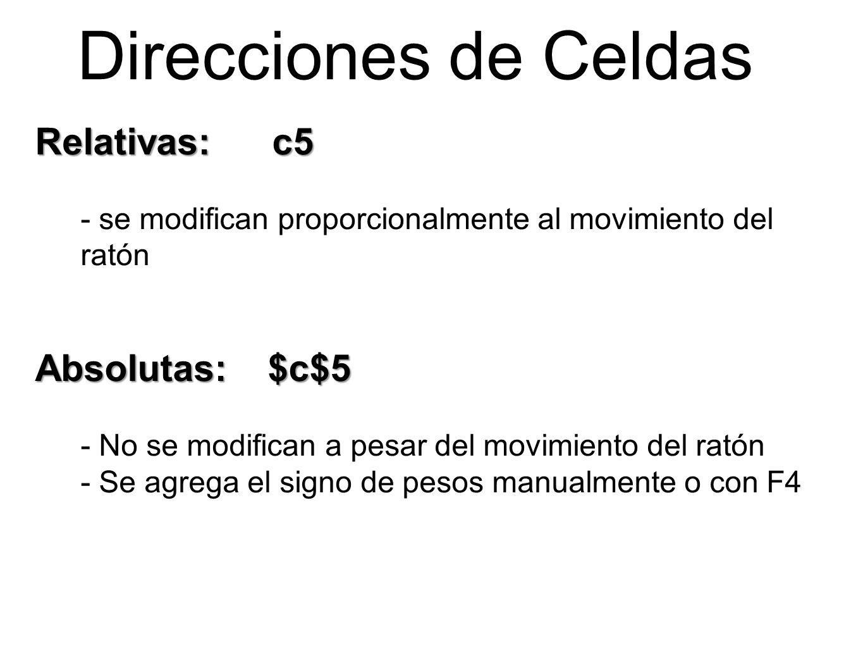Direcciones de Celdas Relativas: c5 Absolutas: $c$5