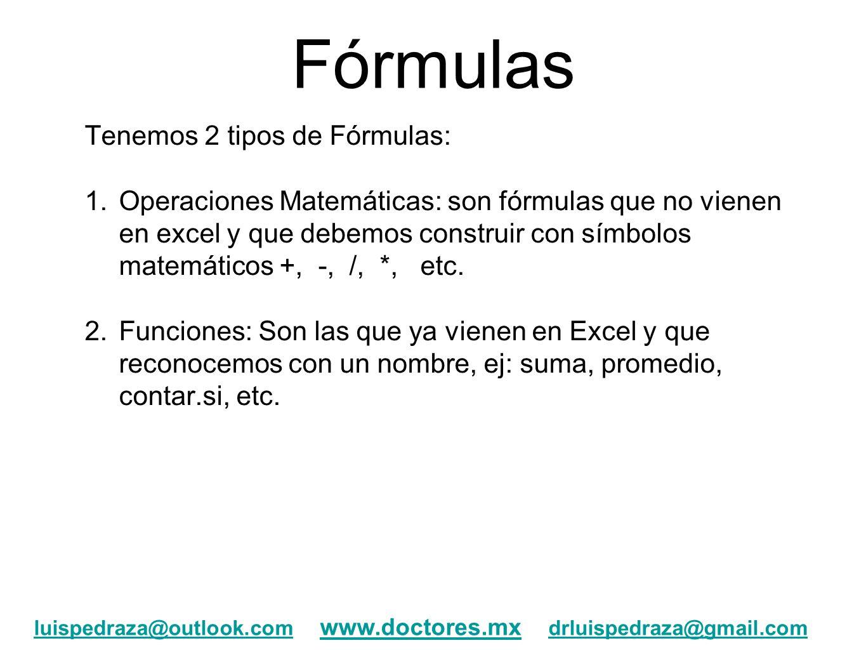 Fórmulas Tenemos 2 tipos de Fórmulas: