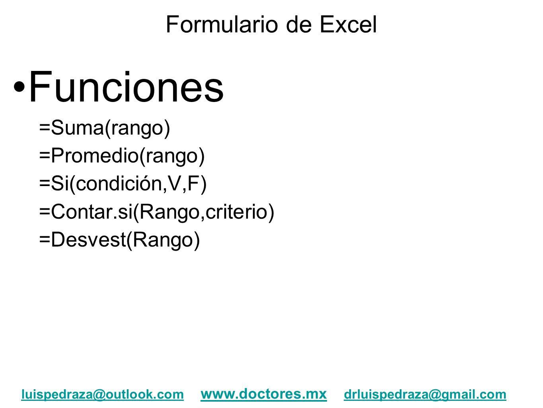 Funciones Formulario de Excel =Suma(rango) =Promedio(rango)