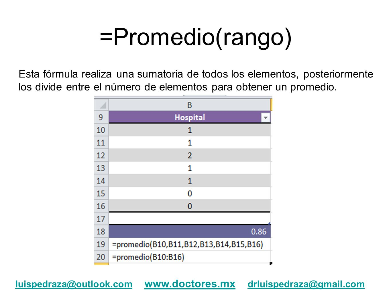 =Promedio(rango)
