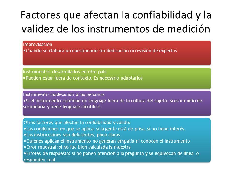 Factores que afectan la confiabilidad y la validez de los instrumentos de medición