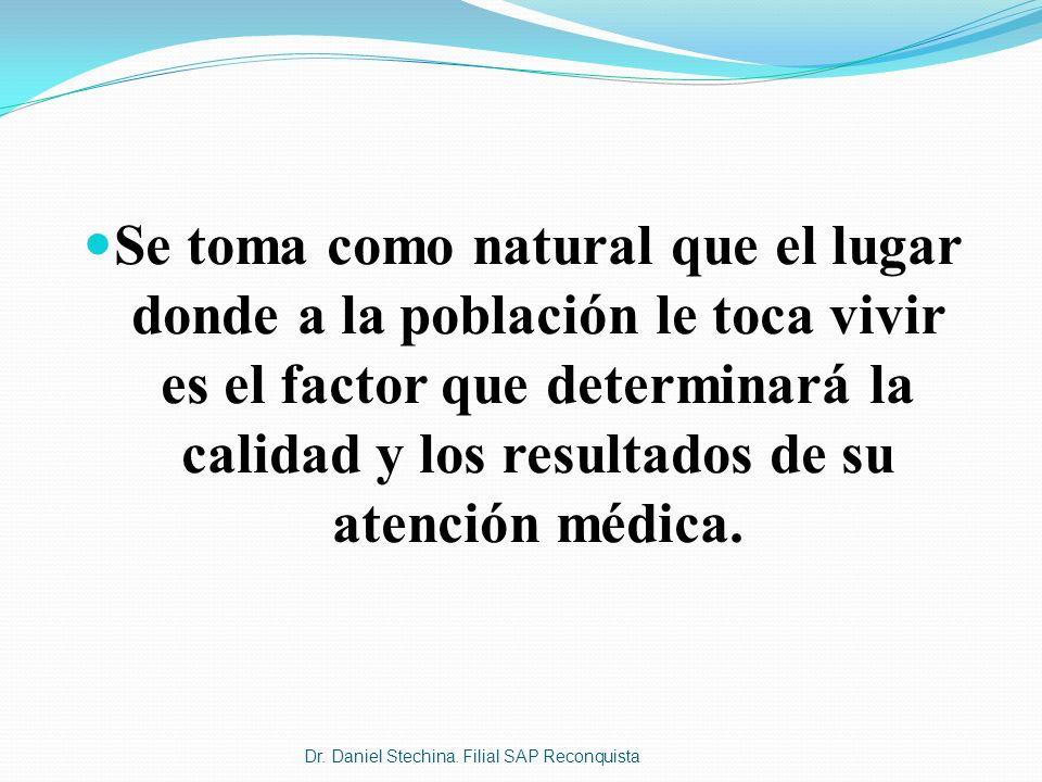 Se toma como natural que el lugar donde a la población le toca vivir es el factor que determinará la calidad y los resultados de su atención médica.