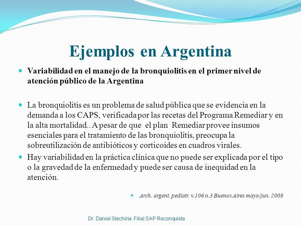 Ejemplos en Argentina Variabilidad en el manejo de la bronquiolitis en el primer nivel de atención público de la Argentina.
