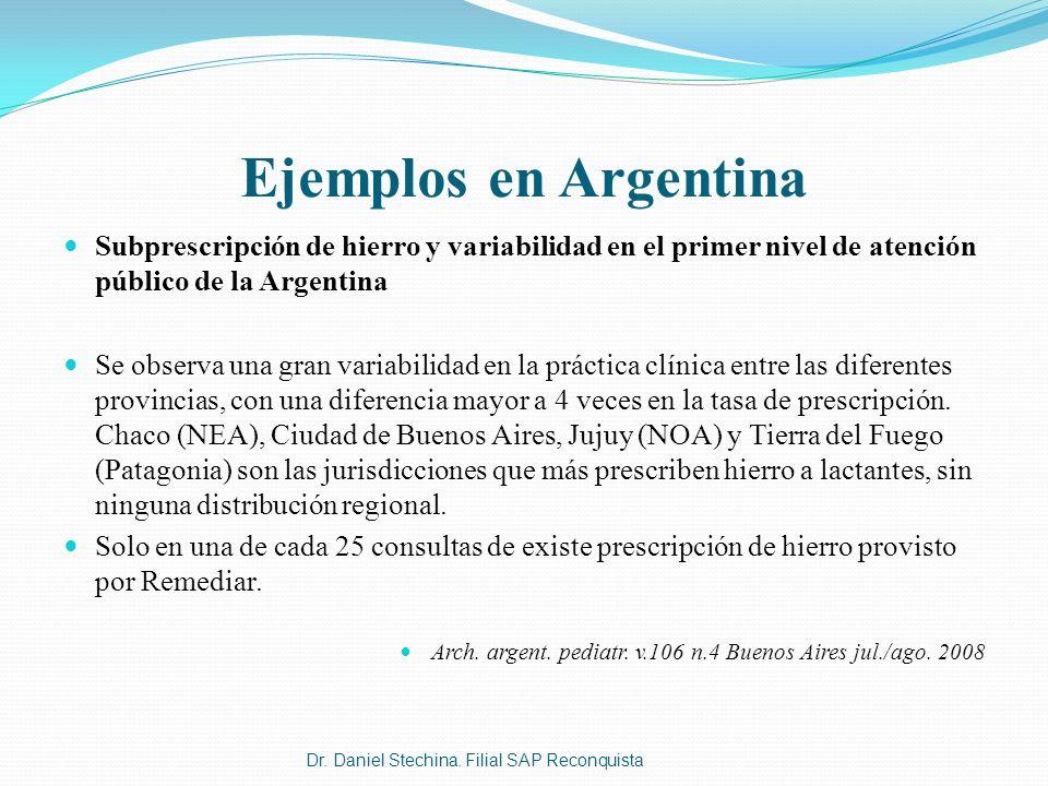 Ejemplos en Argentina Subprescripción de hierro y variabilidad en el primer nivel de atención público de la Argentina.
