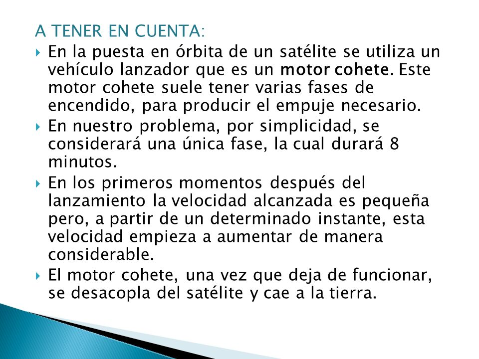 A TENER EN CUENTA: