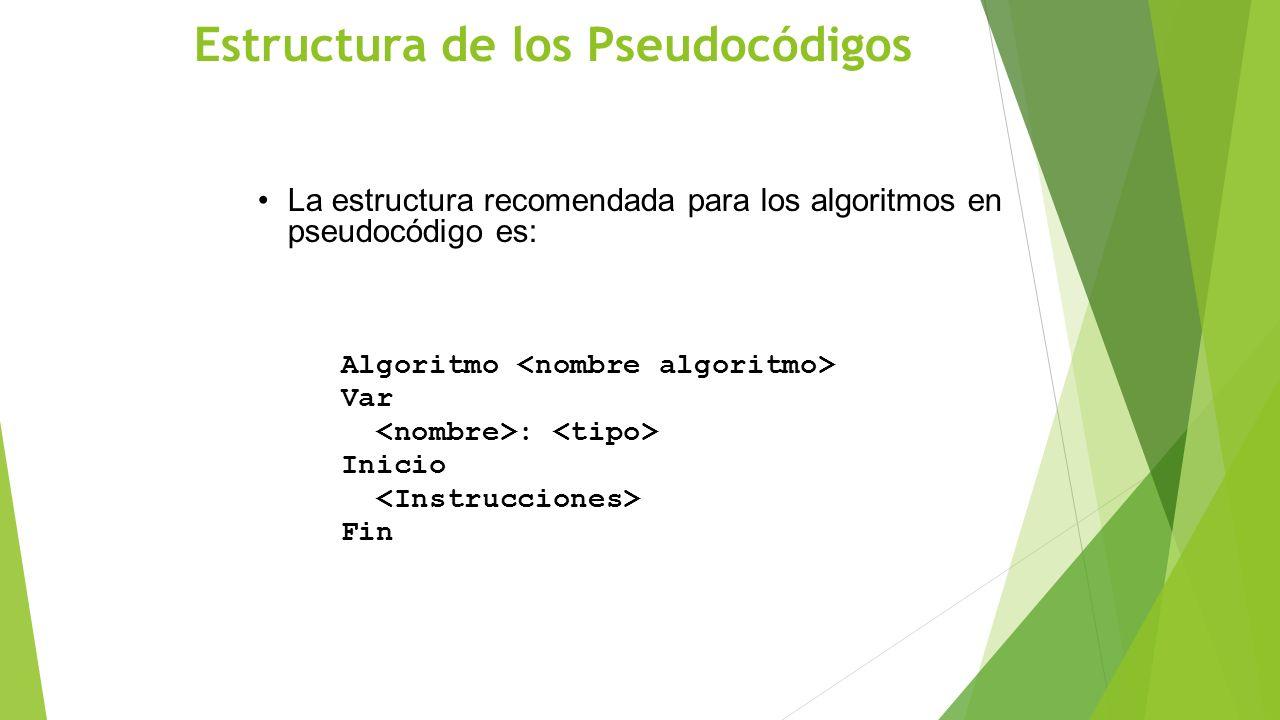 Estructura de los Pseudocódigos