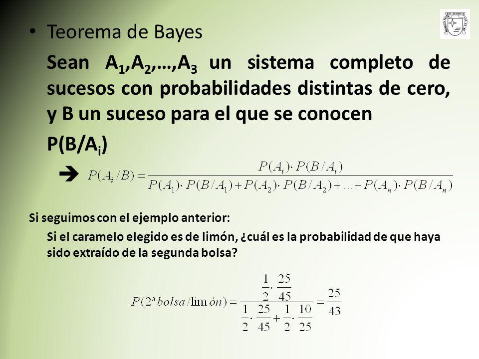 Teorema de Bayes Sean A1,A2,…,A3 un sistema completo de sucesos con probabilidades distintas de cero, y B un suceso para el que se conocen.
