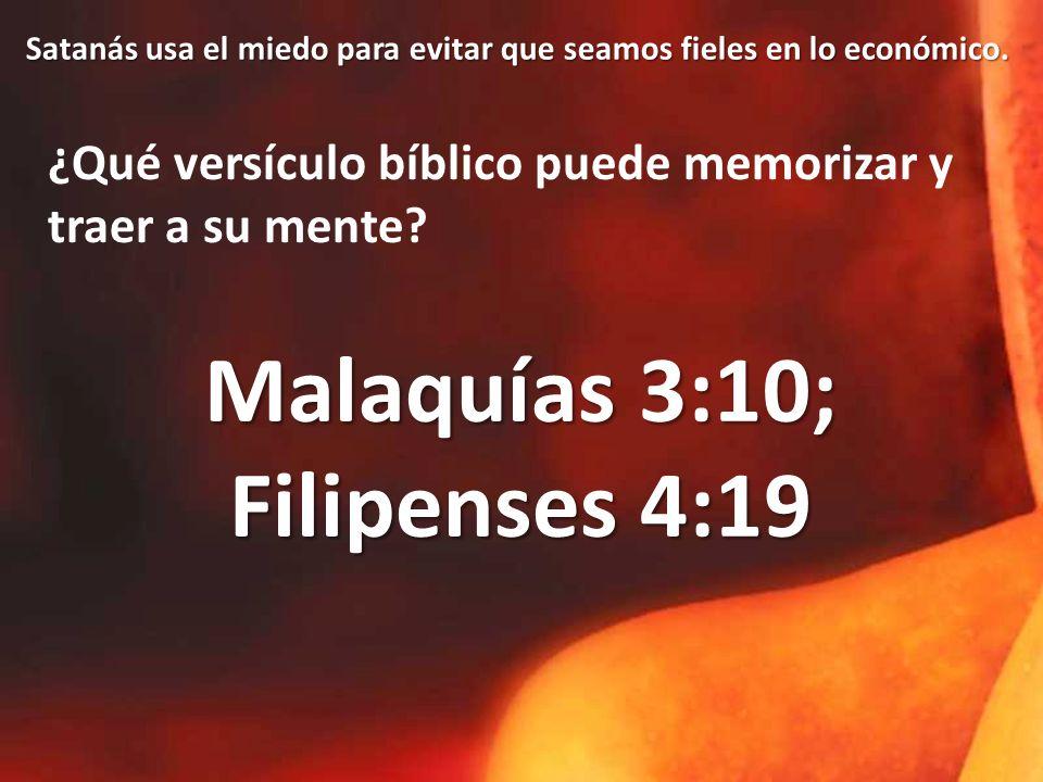 Malaquías 3:10; Filipenses 4:19