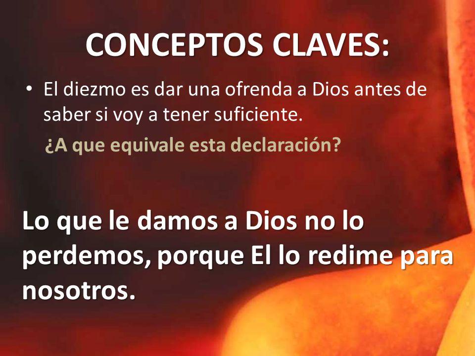 CONCEPTOS CLAVES: El diezmo es dar una ofrenda a Dios antes de saber si voy a tener suficiente. ¿A que equivale esta declaración