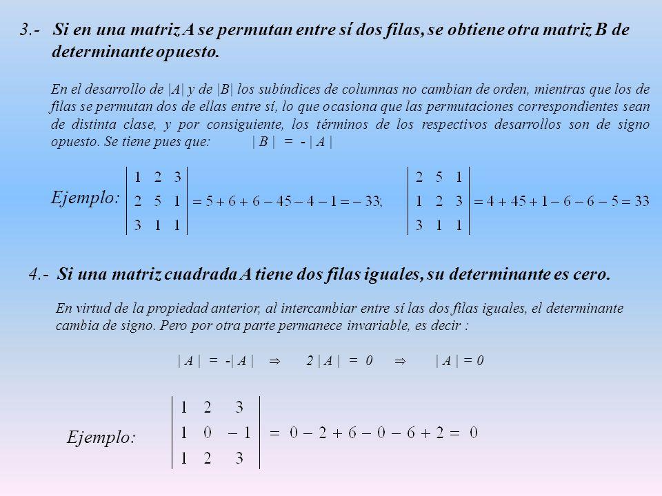 3.- Si en una matriz A se permutan entre sí dos filas, se obtiene otra matriz B de