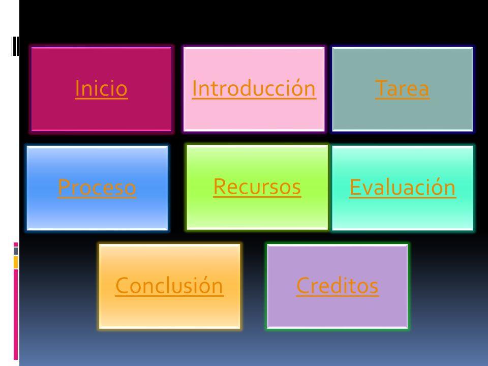 Inicio Introducción Tarea Proceso Evaluación Creditos Recursos Conclusión