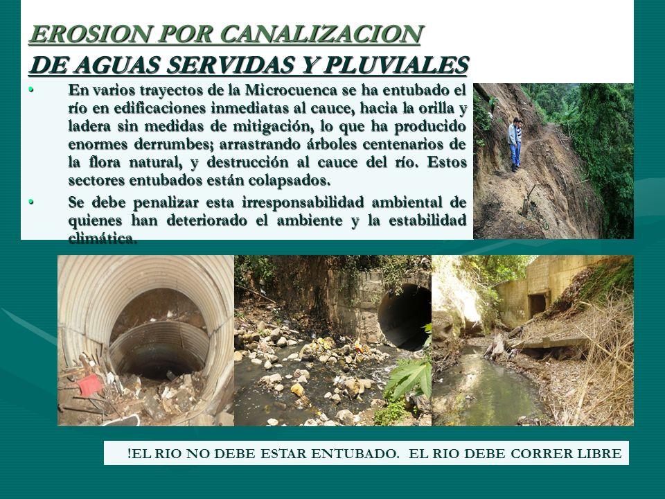 EROSION POR CANALIZACION DE AGUAS SERVIDAS Y PLUVIALES