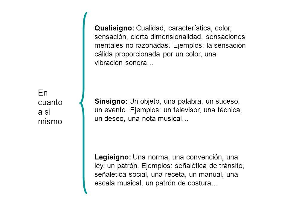 Qualisigno: Cualidad, característica, color, sensación, cierta dimensionalidad, sensaciones mentales no razonadas. Ejemplos: la sensación cálida proporcionada por un color, una vibración sonora…