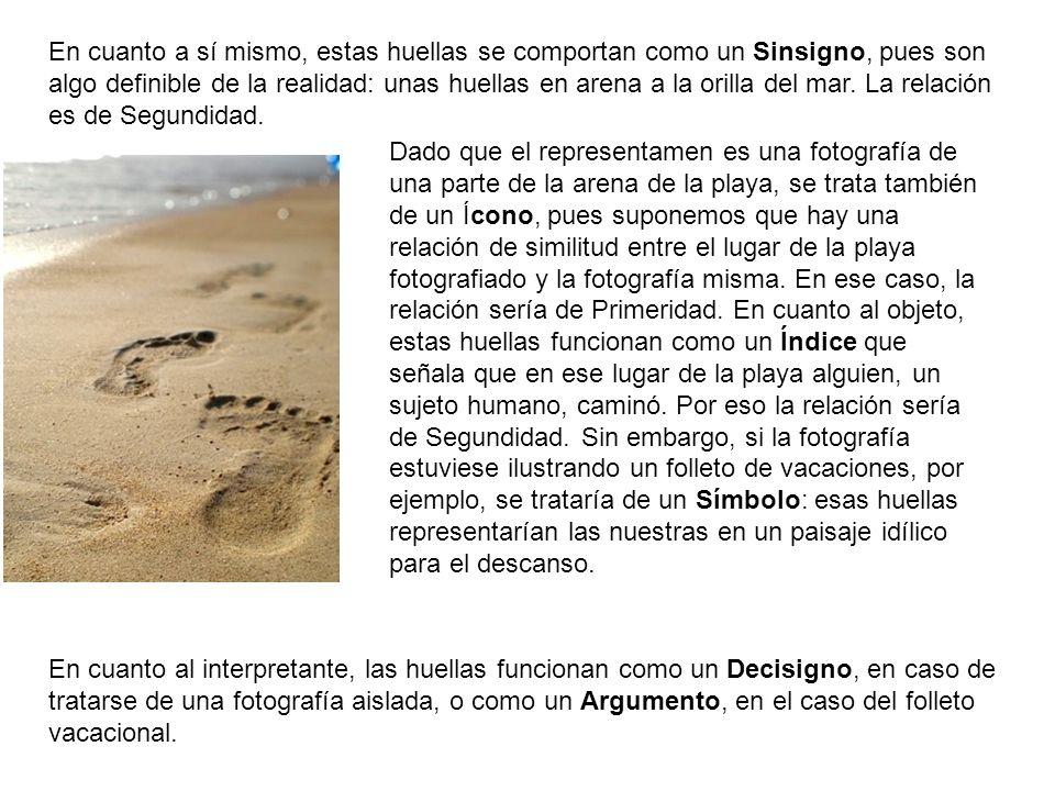 En cuanto a sí mismo, estas huellas se comportan como un Sinsigno, pues son algo definible de la realidad: unas huellas en arena a la orilla del mar. La relación es de Segundidad.