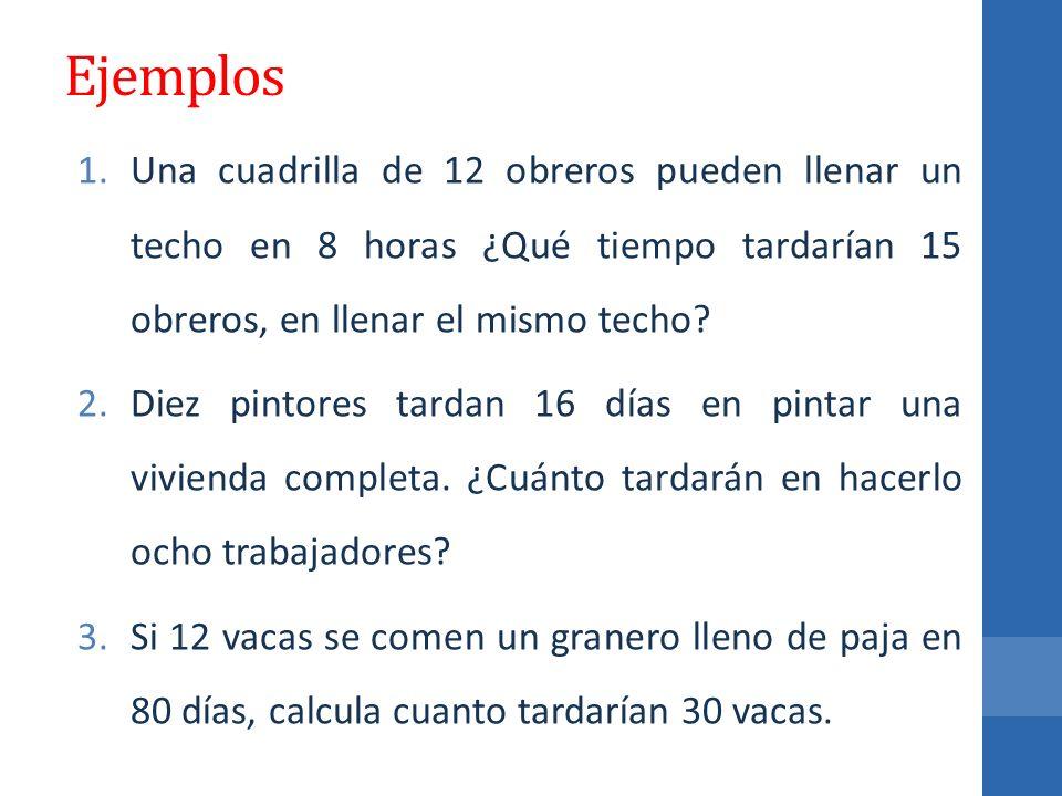 Ejemplos Una cuadrilla de 12 obreros pueden llenar un techo en 8 horas ¿Qué tiempo tardarían 15 obreros, en llenar el mismo techo