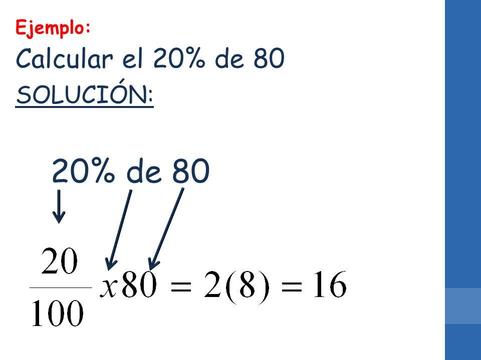 Ejemplo: Calcular el 20% de 80 SOLUCIÓN: 20% de 80