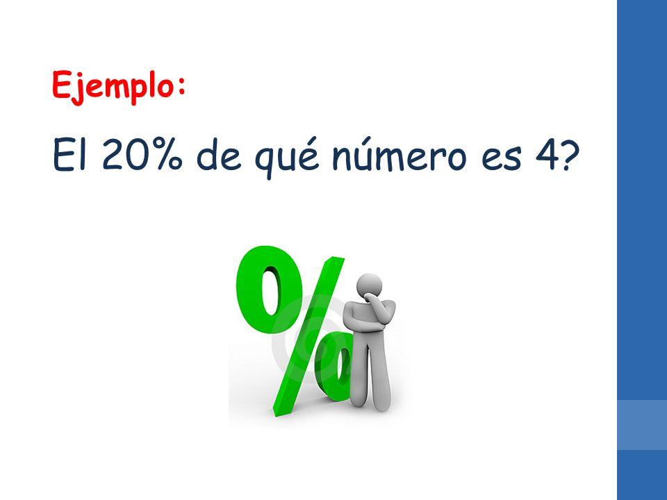 Ejemplo: El 20% de qué número es 4