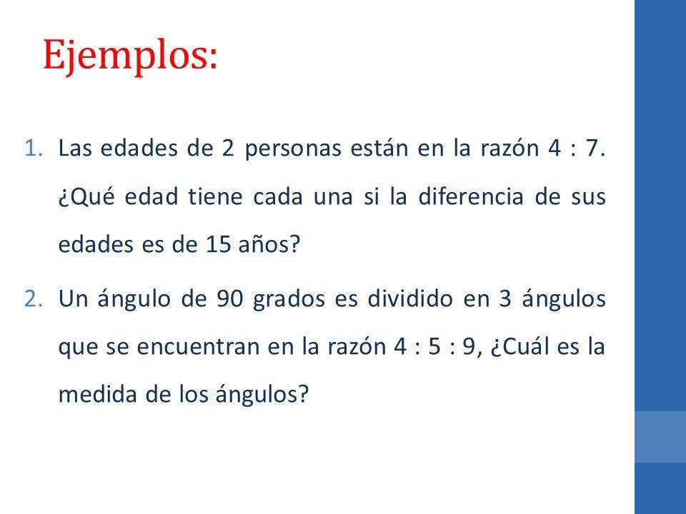 Ejemplos: Las edades de 2 personas están en la razón 4 : 7. ¿Qué edad tiene cada una si la diferencia de sus edades es de 15 años