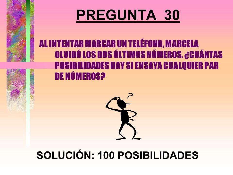 SOLUCIÓN: 100 POSIBILIDADES