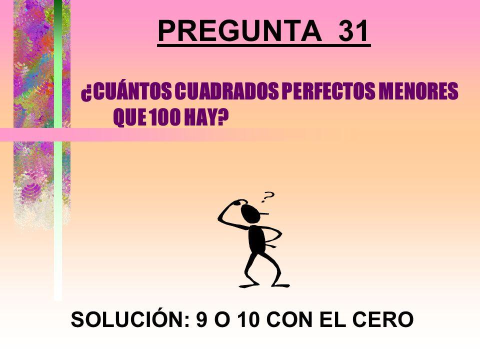 ¿CUÁNTOS CUADRADOS PERFECTOS MENORES QUE 100 HAY