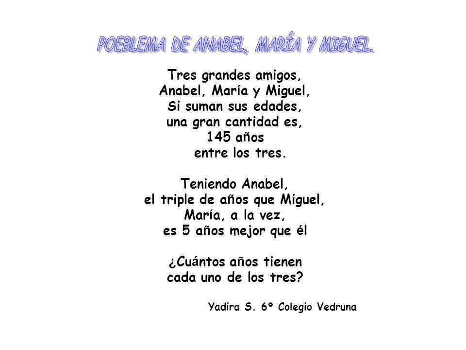 POEBLEMA DE ANABEL, MARÍA Y MIGUEL. el triple de años que Miguel,