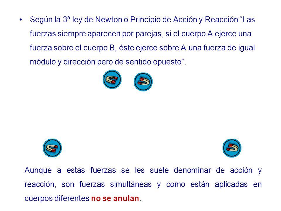 Según la 3ª ley de Newton o Principio de Acción y Reacción Las fuerzas siempre aparecen por parejas, si el cuerpo A ejerce una fuerza sobre el cuerpo B, éste ejerce sobre A una fuerza de igual módulo y dirección pero de sentido opuesto .