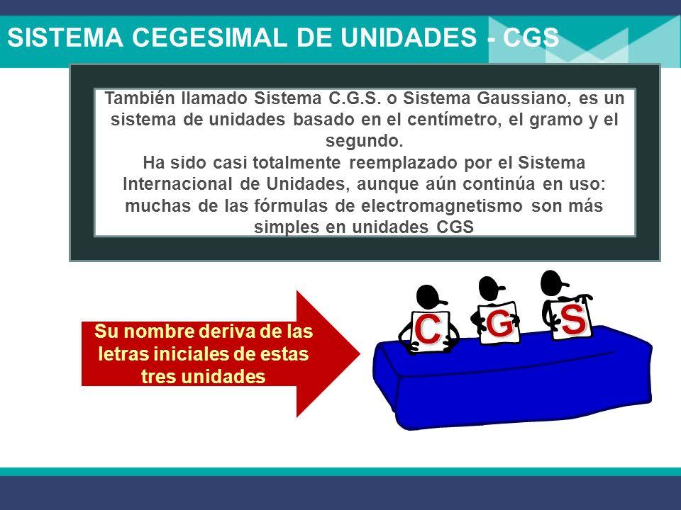 SISTEMA CEGESIMAL DE UNIDADES - CGS