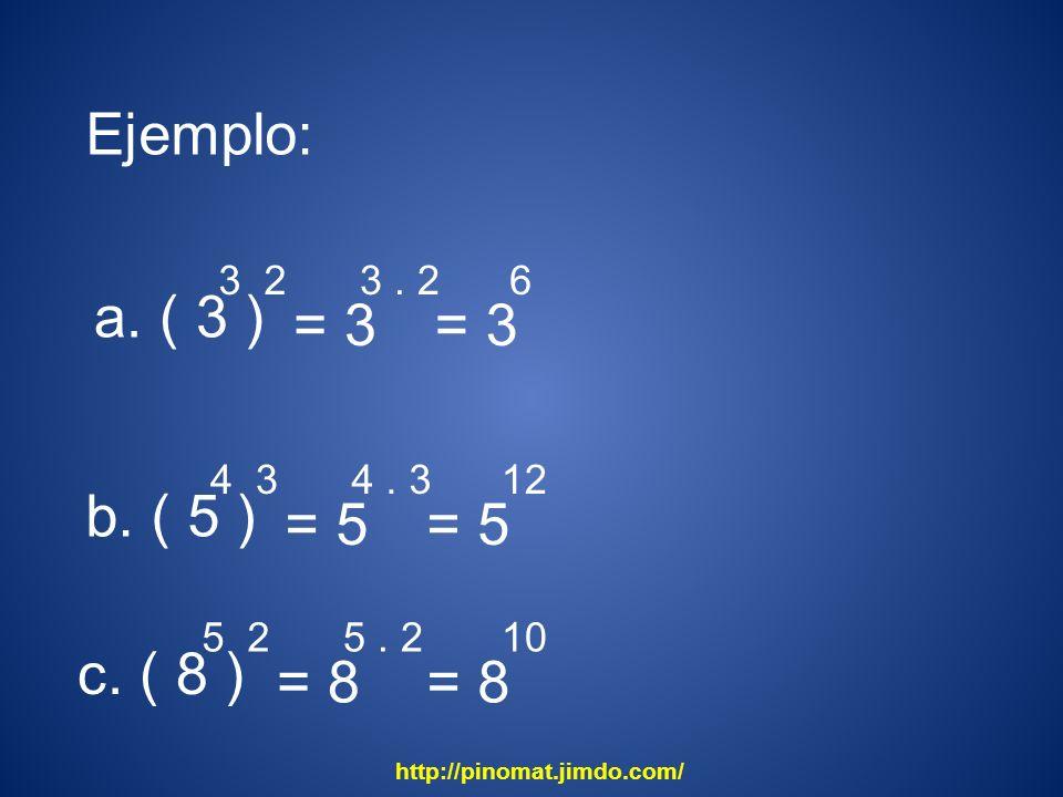 Ejemplo: a. ( 3 ) = 3 = 3 b. ( 5 ) = 5 = 5 c. ( 8 ) = 8 = 8 3 2 3 . 2