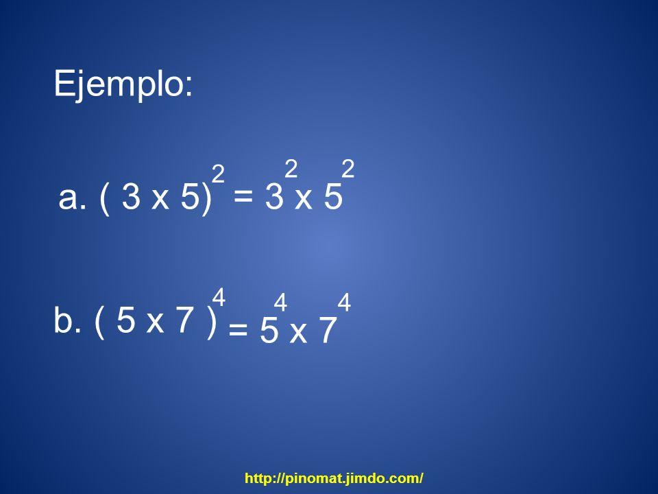 Ejemplo: a. ( 3 x 5) = 3 x 5 b. ( 5 x 7 ) = 5 x 7 2 2 2 4 4 4