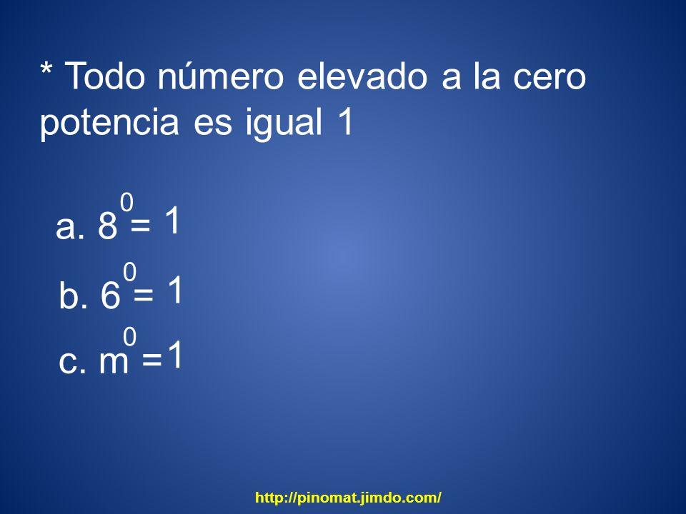 * Todo número elevado a la cero potencia es igual 1