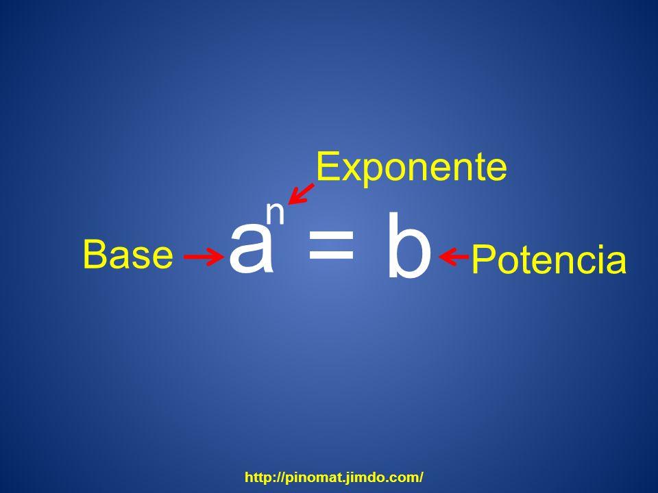 Exponente a n = b Base Potencia http://pinomat.jimdo.com/