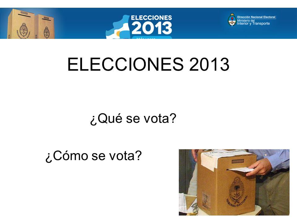 ELECCIONES 2013 ¿Qué se vota ¿Cómo se vota
