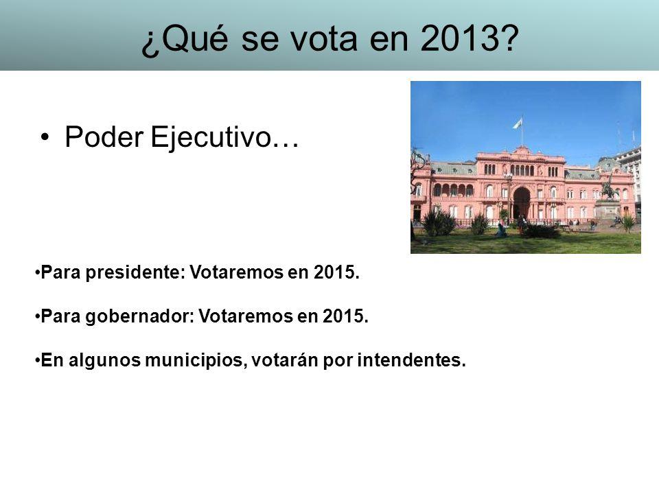 ¿Qué se vota en 2013 Poder Ejecutivo…