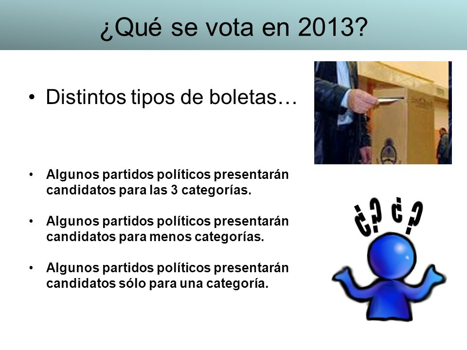 ¿Qué se vota en 2013 Distintos tipos de boletas…