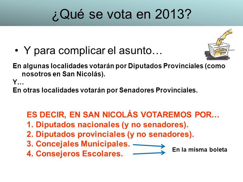 ¿Qué se vota en 2013 Y para complicar el asunto…