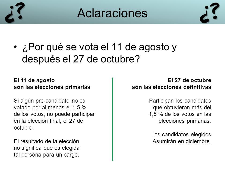 Aclaraciones ¿Por qué se vota el 11 de agosto y después el 27 de octubre El 11 de agosto. son las elecciones primarias.