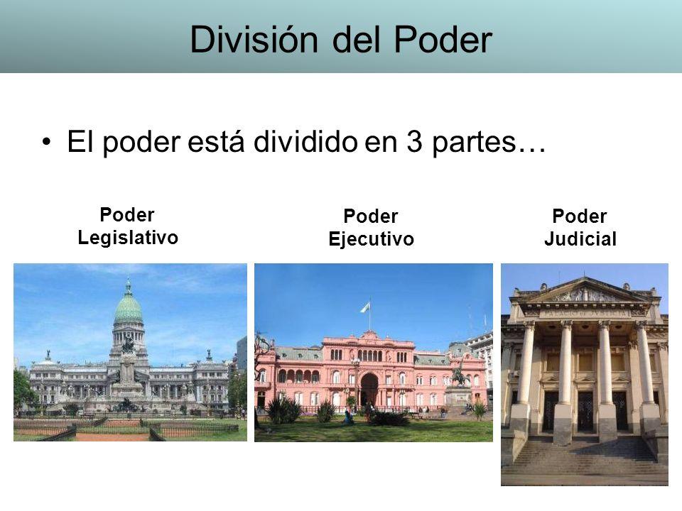 División del Poder El poder está dividido en 3 partes… Poder