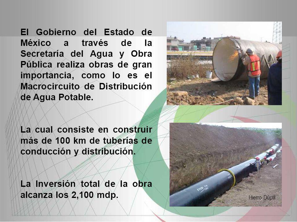 La Inversión total de la obra alcanza los 2,100 mdp.