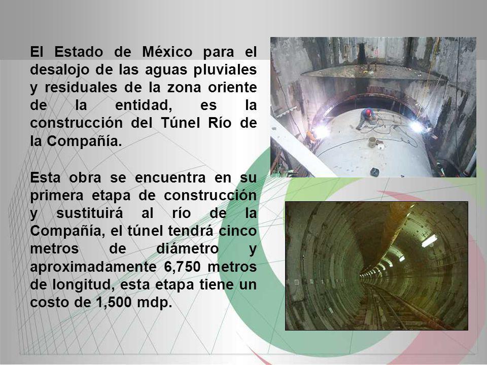 El Estado de México para el desalojo de las aguas pluviales y residuales de la zona oriente de la entidad, es la construcción del Túnel Río de la Compañía.