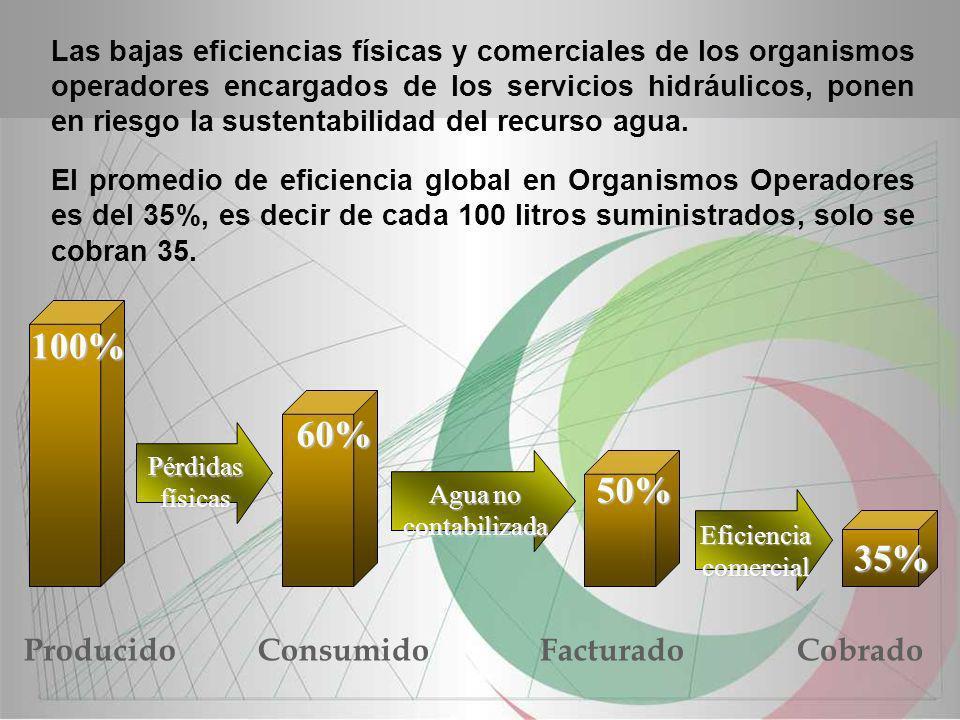 100% 60% 50% 35% Producido Facturado Consumido Cobrado