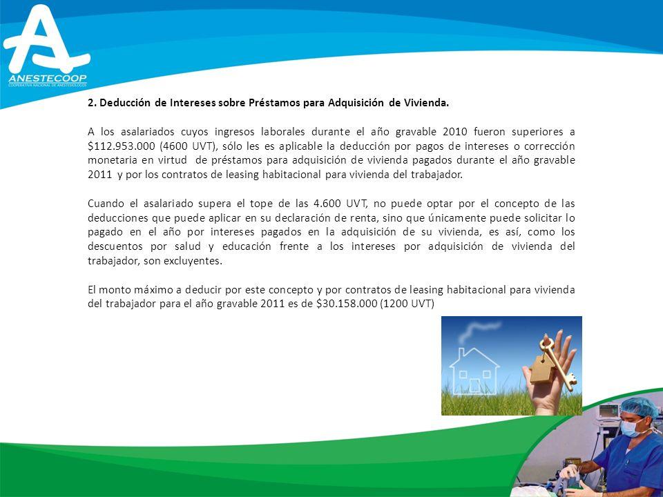 2. Deducción de Intereses sobre Préstamos para Adquisición de Vivienda.