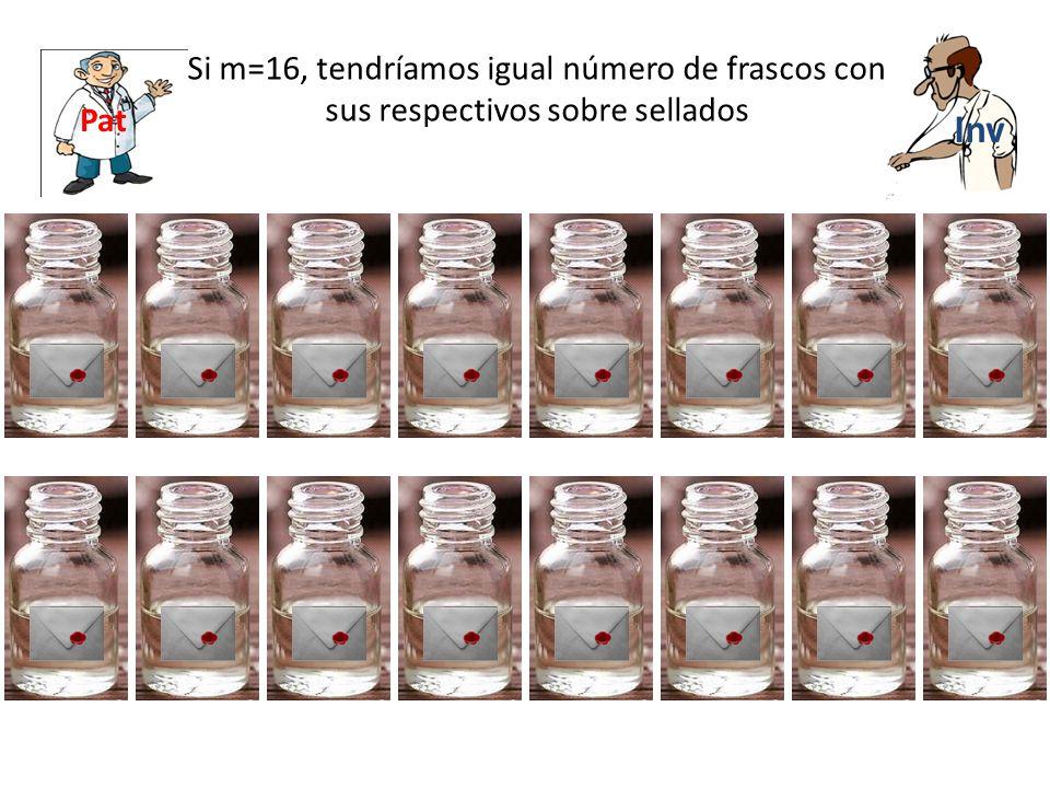 Inv Si m=16, tendríamos igual número de frascos con