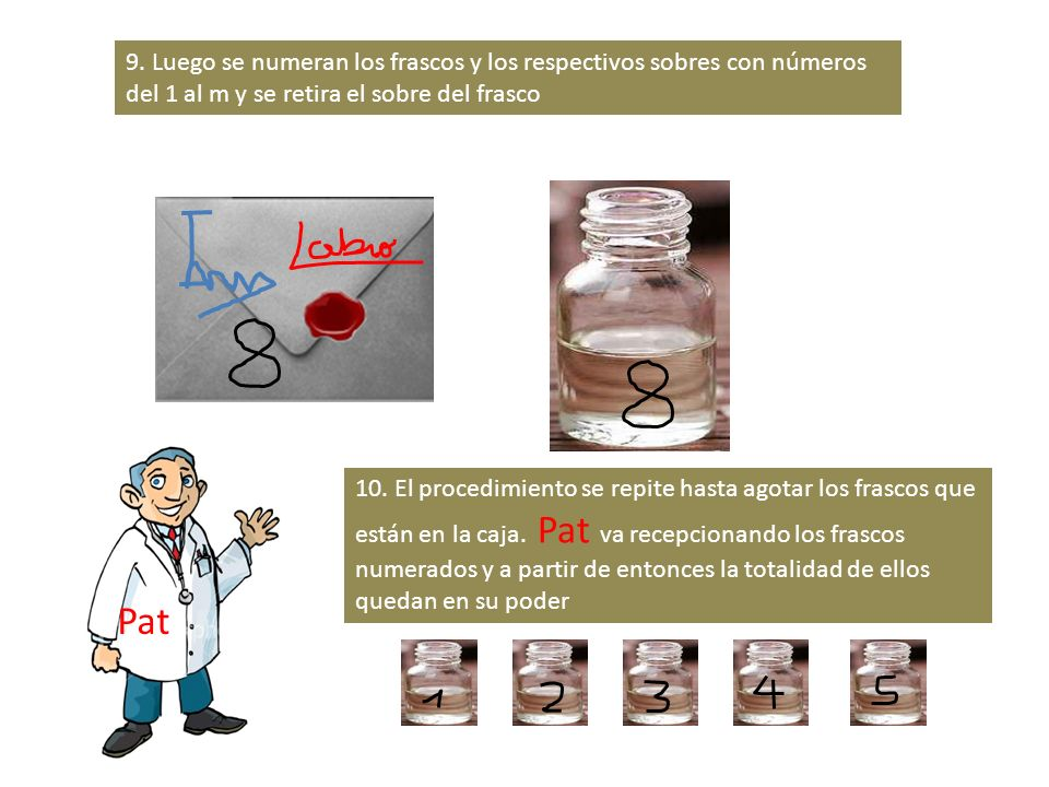 9. Luego se numeran los frascos y los respectivos sobres con números del 1 al m y se retira el sobre del frasco